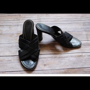Cole Haan Black Leather Heeled Sandals